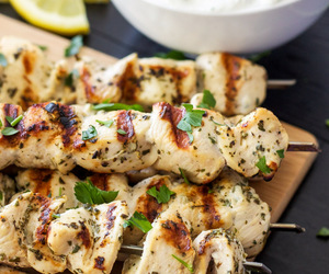 Chicken, cooking, and skewers image