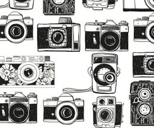 camera, wallpaper, and black and white image