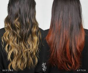 hair, ombre, and red hair image