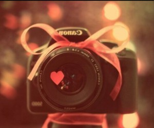 camera, canon, and heart image