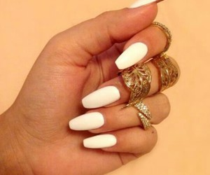 nails, white, and glamour image