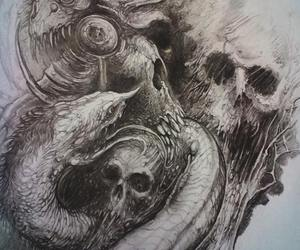 art, black and white, and creature image