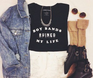 outfit, boots, and denim image