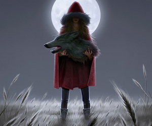 red riding hood, art, and wolf image