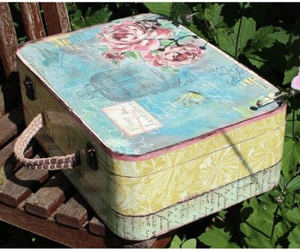 shabby chic, suitcases, and travel image