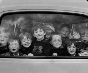 black and white, car, and children image