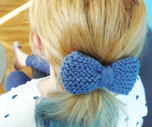 blue hair, bow, and hair image