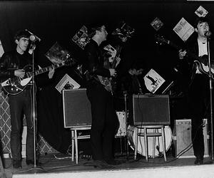 b&w, band, and beatles image