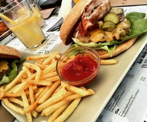 fries, burger, and food image