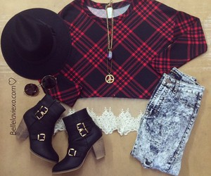outfit, plaid, and style image