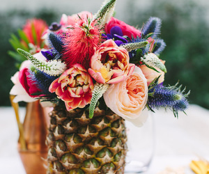 flowers, pineapple, and summer image