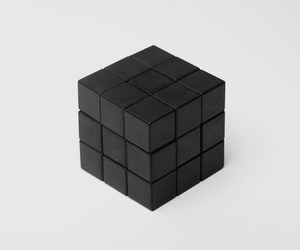 black, cube, and white image