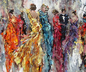 art, dresses, and painting image