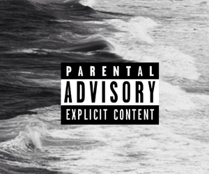 apple, black and white, and parental advisory image
