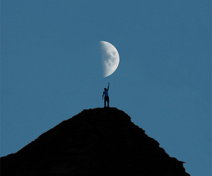 moon, night, and man image