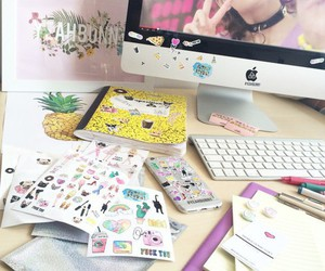 stickers, iphone, and workspace image