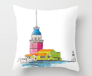 art, city, and throw pillow image