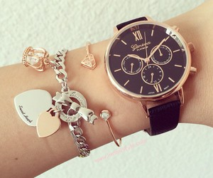 bracelets, watch, and elegant image