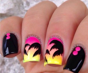 nails, summer, and black image
