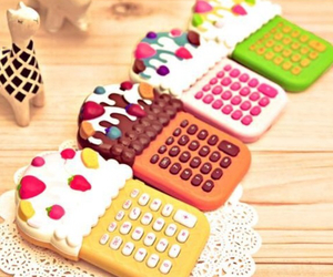 cute, calculator, and cupcake image