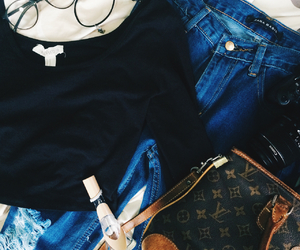 forever 21, Louis Vuitton, and ripped jeans image