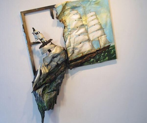 art, ship, and painting image