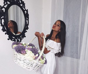 girl, fashion, and flowers image