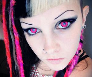 contacts, red hair, and pink eyes image