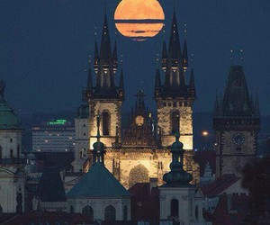 moon, night, and prague image