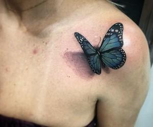 blue, tattoo, and borboleta image