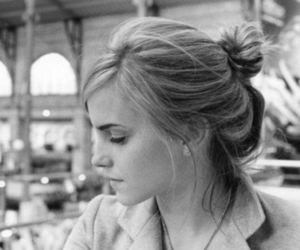 black and white, emma watson, and pensive image