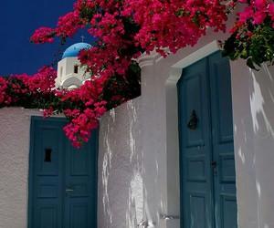Greece, flowers, and santorini image