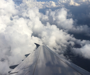 airplane, clouds, and etch image