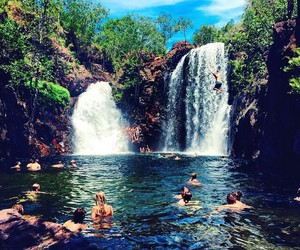 waterfall, summer, and travel image