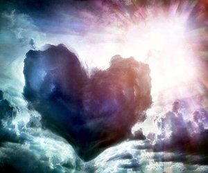 art, clouds, and love image