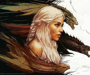 game of thrones, dragon, and daenerys targaryen image