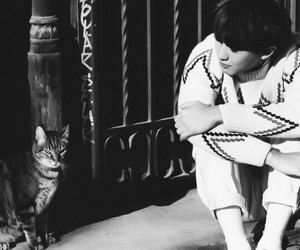 asian boy, black and white, and exo image
