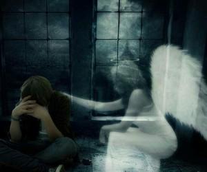 angel, boy, and dark image