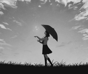 anime, umbrella, and clouds image