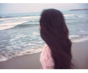 girl, beach, and hair image