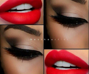 lipstick, makeup, and smokey eyes image