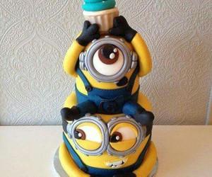 cake, minions, and food image