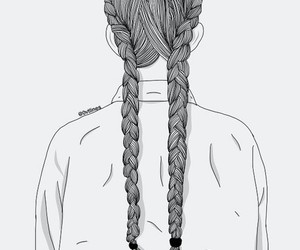 hair, outline, and braid image