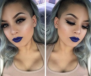 blue, gray, and lipstick image
