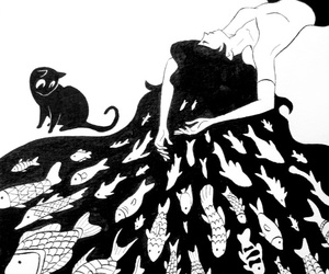 art, cat, and fish image