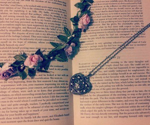 background, books, and flower crown image
