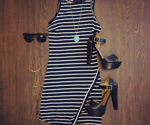 accessories, black and white dress, and black dress image