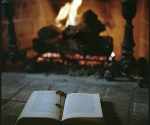 book, fire, and fireplace image