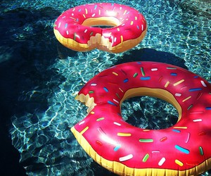donuts, summer, and pool image