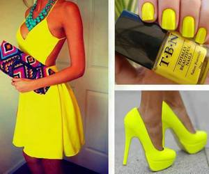 dress, yellow, and nails image